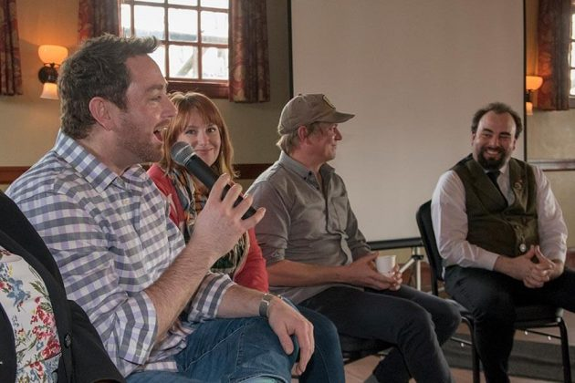 Left to right, Ryan Csanky of Martin Ryan Distilling Co., Keli Rivers of Whitechapel, SF, Ben Capdeville of Captive Spirits and Gin Summit organizer David T. Smith share a chuckle during a panel discussion on barrel-aged gins.