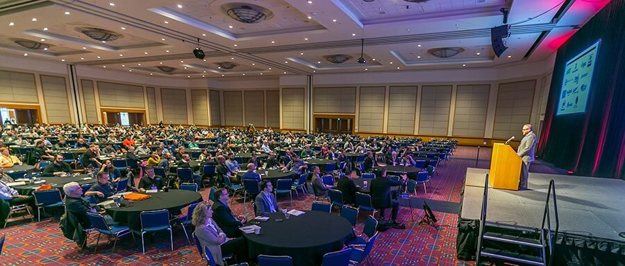 Tad Seestedt, founder of Ransom Spirits, delivers the keynote ad-dress to a packed ballroom at the Oregon Convention Center in Portland.