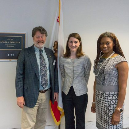 ADI's Andrew Faulkner, left, and Erica Johnson, of Diageo, right, visited Senator Diane Feinstein's office.