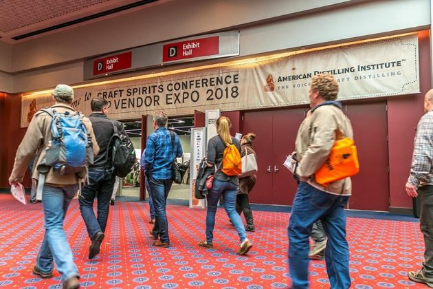 Distillers flood into the expo hall to visit with vendors after the keynote session.