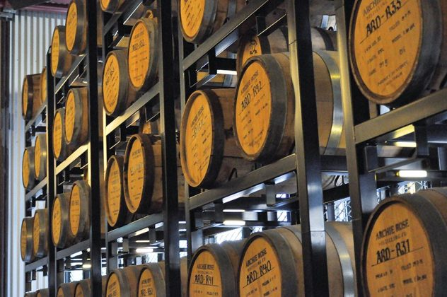 Barrels of whiskey rest and mature at Archie Rose Distilling Company.