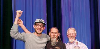 Jeff Kanof, vice president, founding partner Micah Nutt and founding partner Jason Parker celebrate winning the Bubble Cap Award for Distillery of the Year.