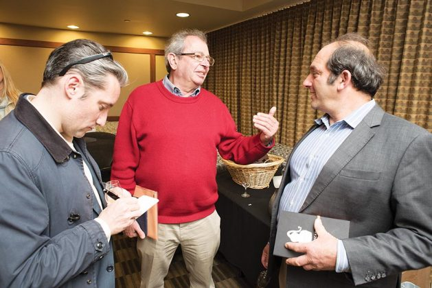 Three of the best brandy palates in the world, left to right, Flavien Desoblin of Brandy Library, Alain Royer—a sixth-generation Cognac maker—and Daniel Farber of Osocalis Distillery, trade impressions about the brandies entered.