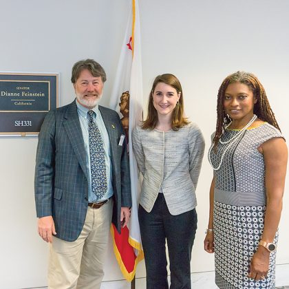 ADI's Andrew Faulkner, left, and Erica Johnson, of Diageo, right, visited Senator Diane Feinstein's office to meet with Legislative Assistant Ellen Baron during a full day of appointments on Capitol Hill.