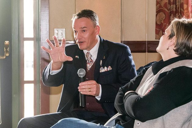 Henric Molin of Spirit of Hven Distillery (Sweden) asks a question to panelists at the Gin Summit, Saturday, March 24, 2018, in Blackberry Hall at McMenamins Edgefield.