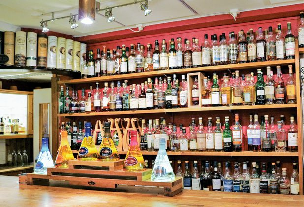 Spirits from the Spirit of Hven decorate the bar and a fine assortment of single malts fill the shelves at the complex's bar.