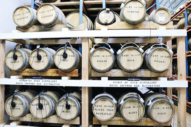 "To experiment with the sonic effect of music on aging, casks have speakers attached to them that push blues, Vivaldi, country, disco, reggae and music from the soundtrack to ""The Girl from Backafal"" through the barrel and spirits."
