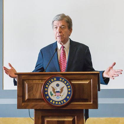 Senator Roy Blunt, (R-MO), one of the authors of the Craft Beverage Modernization and Tax Reform Act of 2017, addresses the delegation after receiving a standing ovation from distillers in gratitude for his part in bringing tax parity to small distilleries.