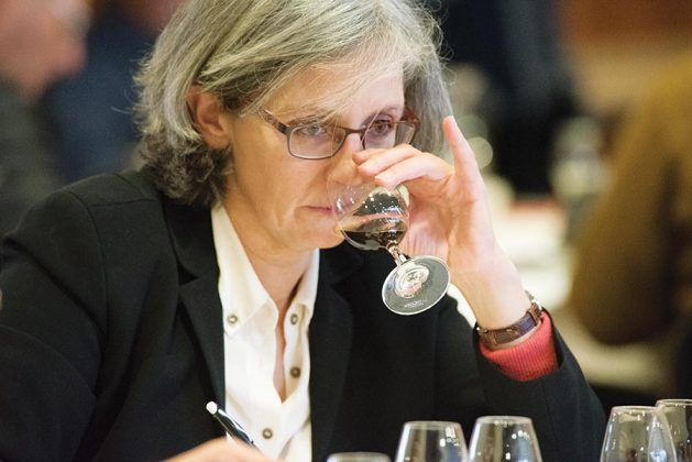 Amanda Garnham, of the Bureau National Interprofessionnel de l'Armagnac, concentrates on an eau de vie for which she is writing tasting notes.