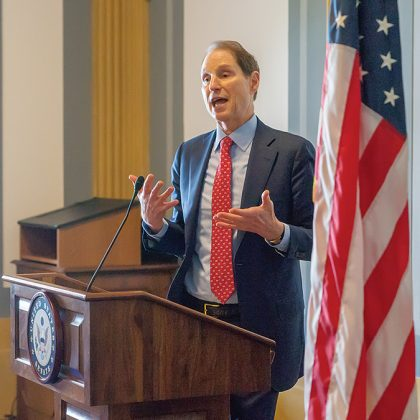 Senator Ron Wyden (D-OR), one of the authors of the Craft Beverage Modernization and Tax Reform Act of 2017, addresses the delegation after receiving a standing ovation from distillers in gratitude for his part in bringing tax parity to small distilleries.